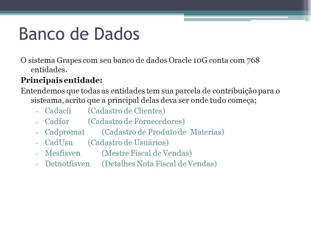 Banco de Dados O sistema Grapes com seu banco de dados Oracle 10G conta com 768 entidades. Principais entidade: Entendemos que todas as entidades tem