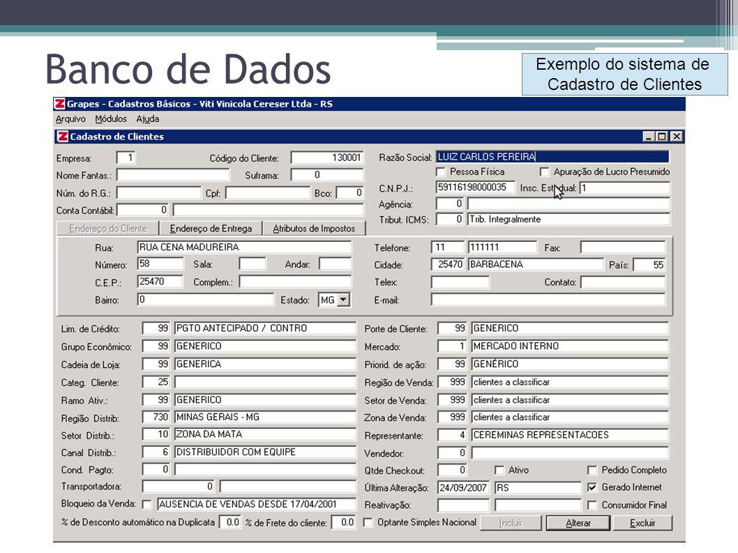 Exemplo do sistema de Cadastro de Clientes Banco de Dados