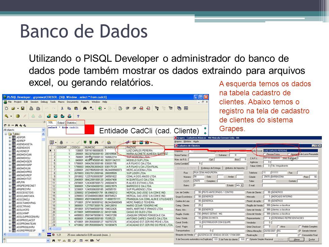 Entidade CadCli (cad. Cliente) A esquerda temos os dados na tabela cadastro de clientes. Abaixo temos o registro na tela de cadastro de clientes do si