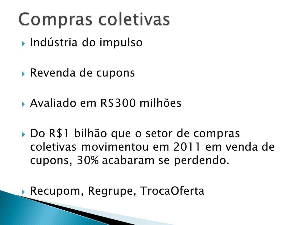 Indústria do impulso Revenda de cupons Avaliado em R$300 milhões Do R$1 bilhão que o setor de compras coletivas movimentou em 2011 em venda de cupons,