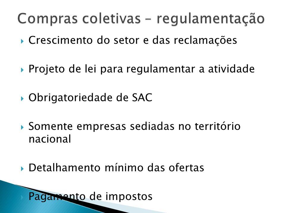 Crescimento do setor e das reclamações Projeto de lei para regulamentar a atividade Obrigatoriedade de SAC Somente empresas sediadas no território nac