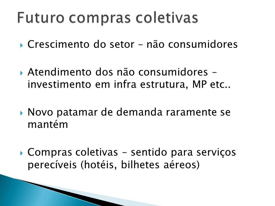 Crescimento do setor – não consumidores Atendimento dos não consumidores – investimento em infra estrutura, MP etc.. Novo patamar de demanda raramente