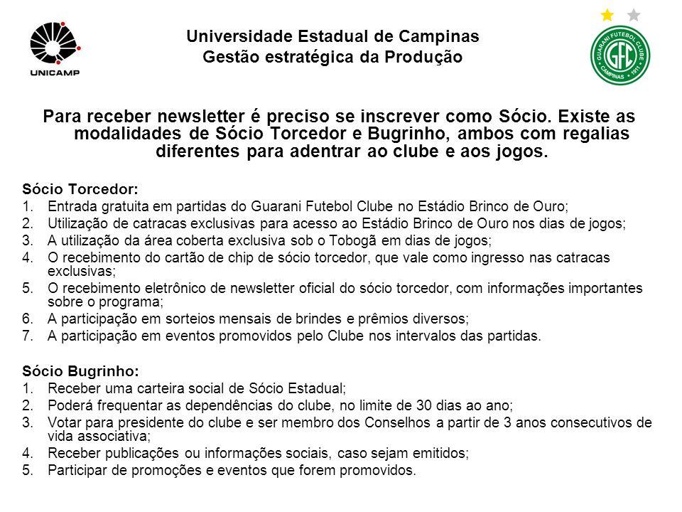 Universidade Estadual de Campinas Gestão estratégica da Produção Não há loja virtual e sim atalhos dos sites de patrocinadores do clube.