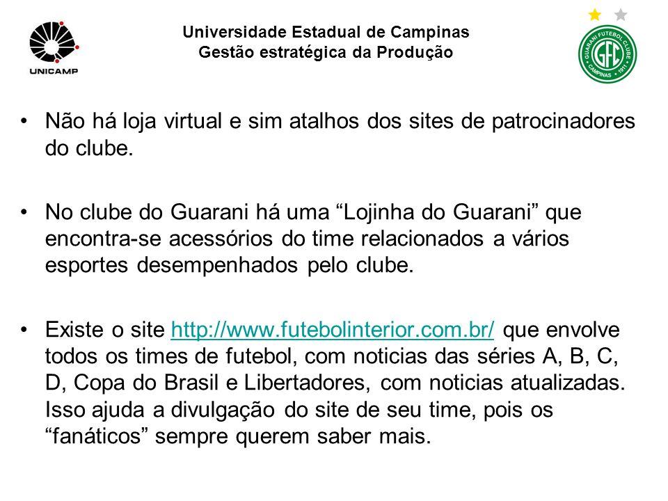 Universidade Estadual de Campinas Gestão estratégica da Produção Em termos de produtos e serviços são oferecidos somente adesão ao Sócio Torcedor e Sócio Bugrinho, não relacionado ao ganho de brindes com a adesão.