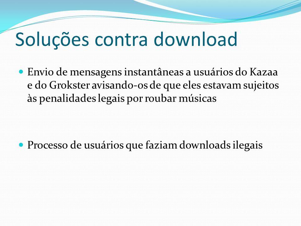 Soluções contra download Envio de mensagens instantâneas a usuários do Kazaa e do Grokster avisando-os de que eles estavam sujeitos às penalidades leg