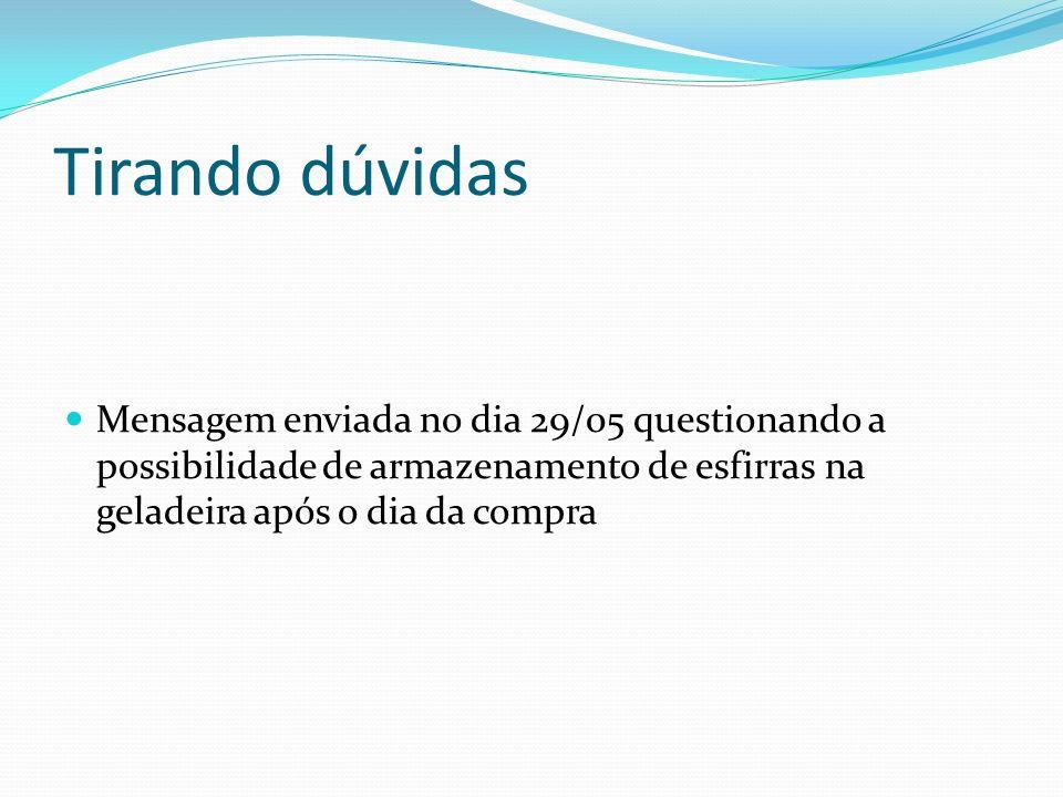 Tirando dúvidas Mensagem enviada no dia 29/05 questionando a possibilidade de armazenamento de esfirras na geladeira após o dia da compra
