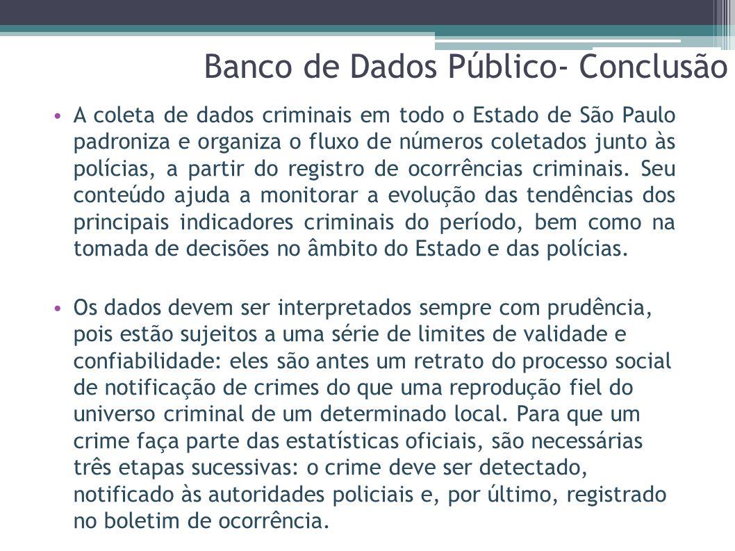 A coleta de dados criminais em todo o Estado de São Paulo padroniza e organiza o fluxo de números coletados junto às polícias, a partir do registro de