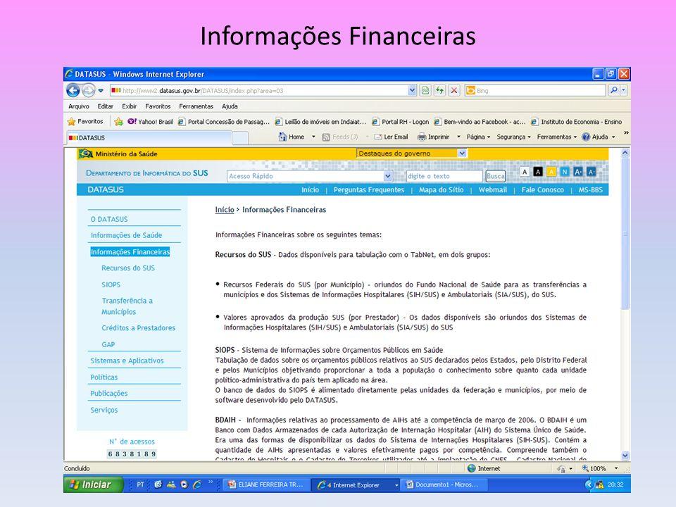O DATASUS tem varias informações da Saúde, sempre visando a transparência de todas as ações e atividades públicas.