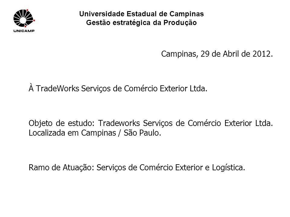 Universidade Estadual de Campinas Gestão estratégica da Produção Campinas, 29 de Abril de 2012. À TradeWorks Serviços de Comércio Exterior Ltda. Objet