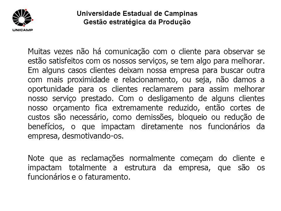 Universidade Estadual de Campinas Gestão estratégica da Produção Muitas vezes não há comunicação com o cliente para observar se estão satisfeitos com os nossos serviços, se tem algo para melhorar.