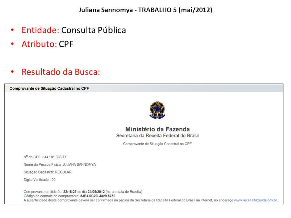 Juliana Sannomya - TRABALHO 5 (mai/2012) Entidade: Consulta Pública Atributo: CPF Resultado da Busca: