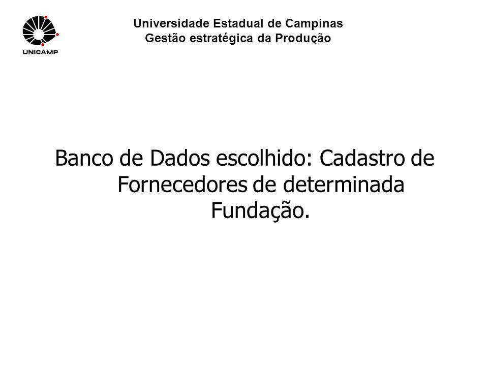 Universidade Estadual de Campinas Gestão estratégica da Produção Banco de Dados escolhido: Cadastro de Fornecedores de determinada Fundação.