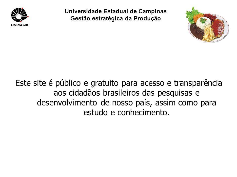 Universidade Estadual de Campinas Gestão estratégica da Produção Este site é público e gratuito para acesso e transparência aos cidadãos brasileiros das pesquisas e desenvolvimento de nosso país, assim como para estudo e conhecimento.