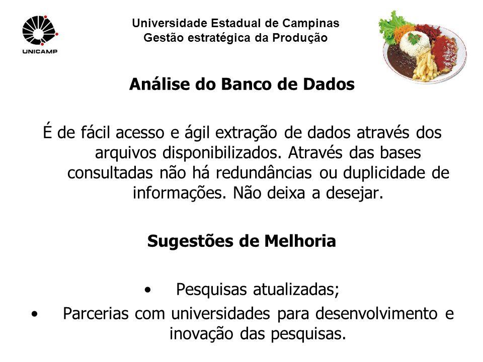 Universidade Estadual de Campinas Gestão estratégica da Produção Análise do Banco de Dados É de fácil acesso e ágil extração de dados através dos arquivos disponibilizados.