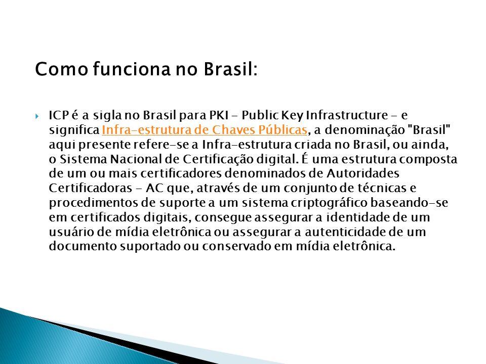 Como funciona no Brasil: ICP é a sigla no Brasil para PKI - Public Key Infrastructure - e significa Infra-estrutura de Chaves Públicas, a denominação