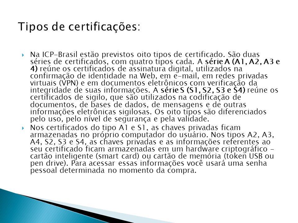 Na ICP-Brasil estão previstos oito tipos de certificado. São duas séries de certificados, com quatro tipos cada. A série A (A1, A2, A3 e 4) reúne os c