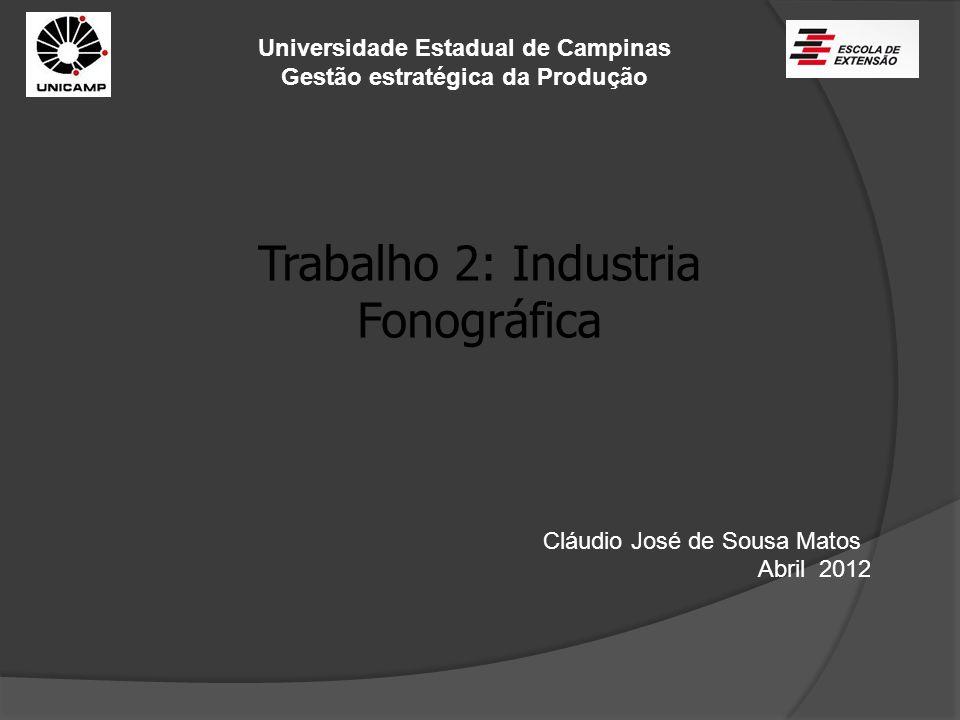 Universidade Estadual de Campinas Gestão estratégica da Produção Trabalho 2: Industria Fonográfica Cláudio José de Sousa Matos Abril 2012