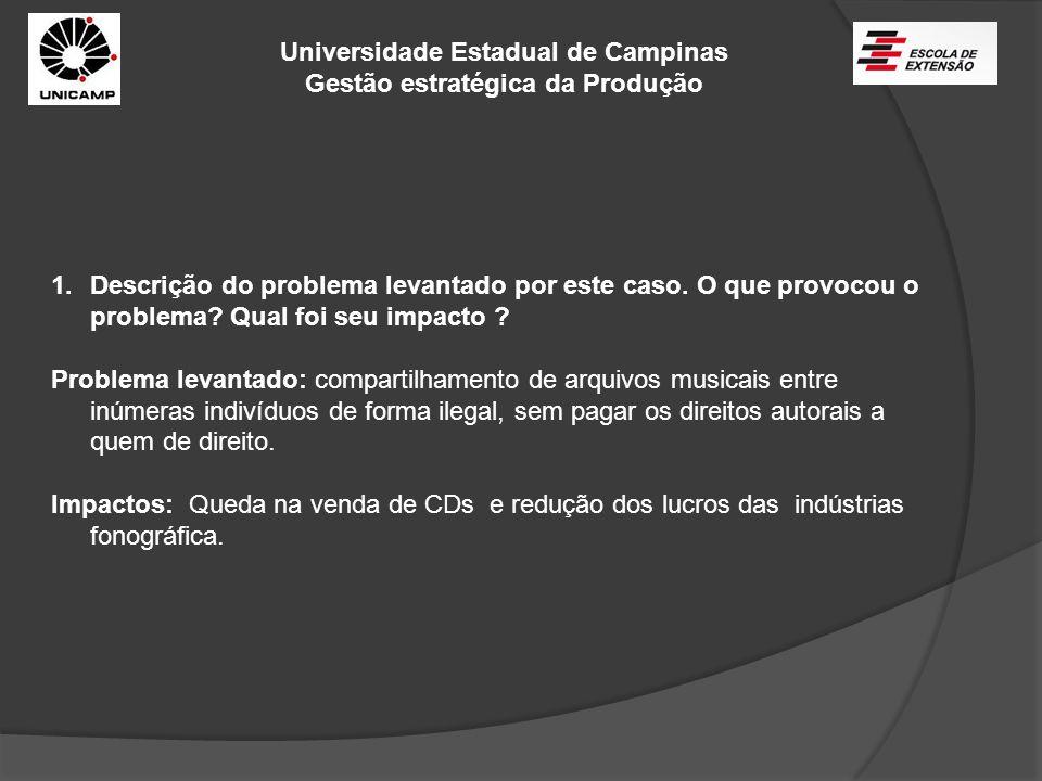 Universidade Estadual de Campinas Gestão estratégica da Produção 2 – a indústria fonográfica identificou corretamente o problema e seus aspectos humanos, organizacionais e tecnológicos.