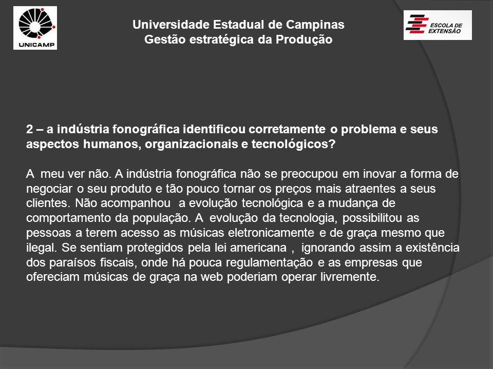Universidade Estadual de Campinas Gestão estratégica da Produção 2 – a indústria fonográfica identificou corretamente o problema e seus aspectos human