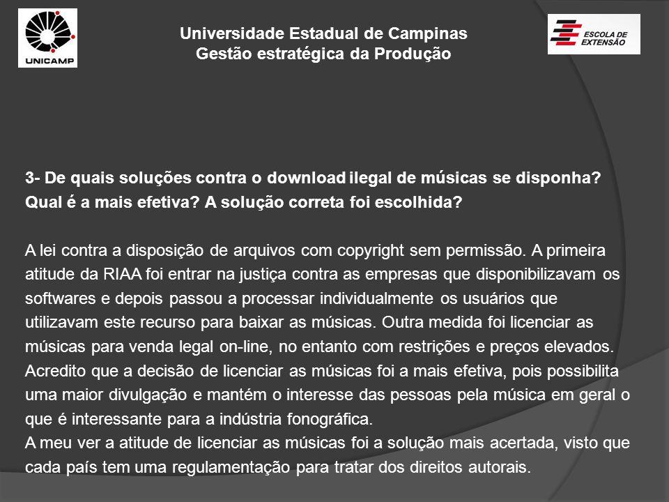 Universidade Estadual de Campinas Gestão estratégica da Produção 3- De quais soluções contra o download ilegal de músicas se disponha? Qual é a mais e
