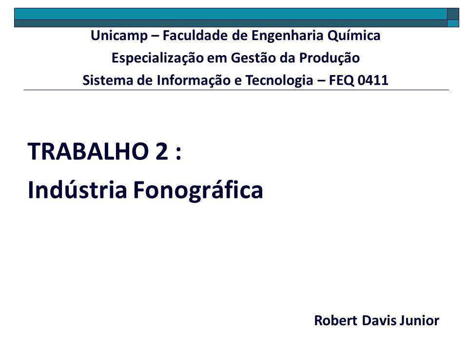 TRABALHO 2 : Indústria Fonográfica Robert Davis Junior Unicamp – Faculdade de Engenharia Química Especialização em Gestão da Produção Sistema de Infor