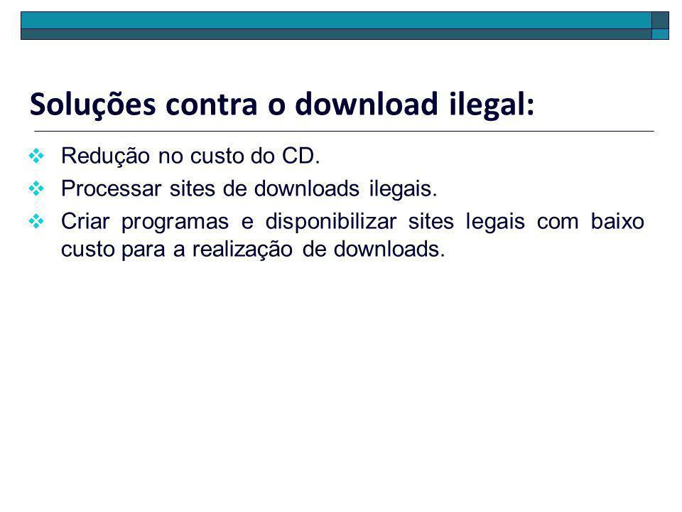 Soluções contra o download ilegal: Redução no custo do CD. Processar sites de downloads ilegais. Criar programas e disponibilizar sites legais com bai