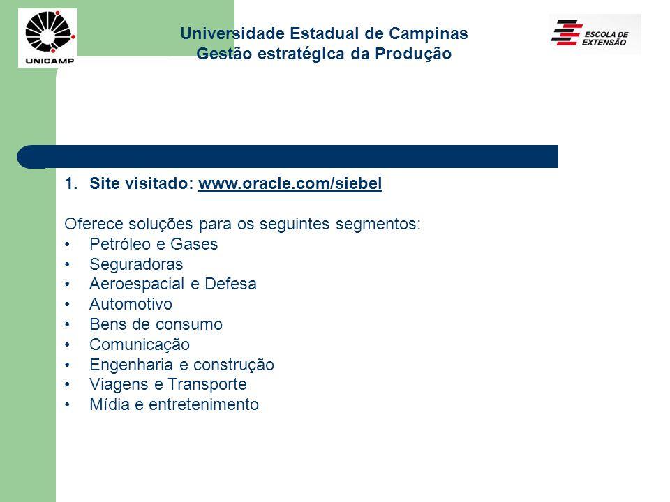 Universidade Estadual de Campinas Gestão estratégica da Produção 1.Site visitado: www.oracle.com/siebelwww.oracle.com/siebel Oferece soluções para os