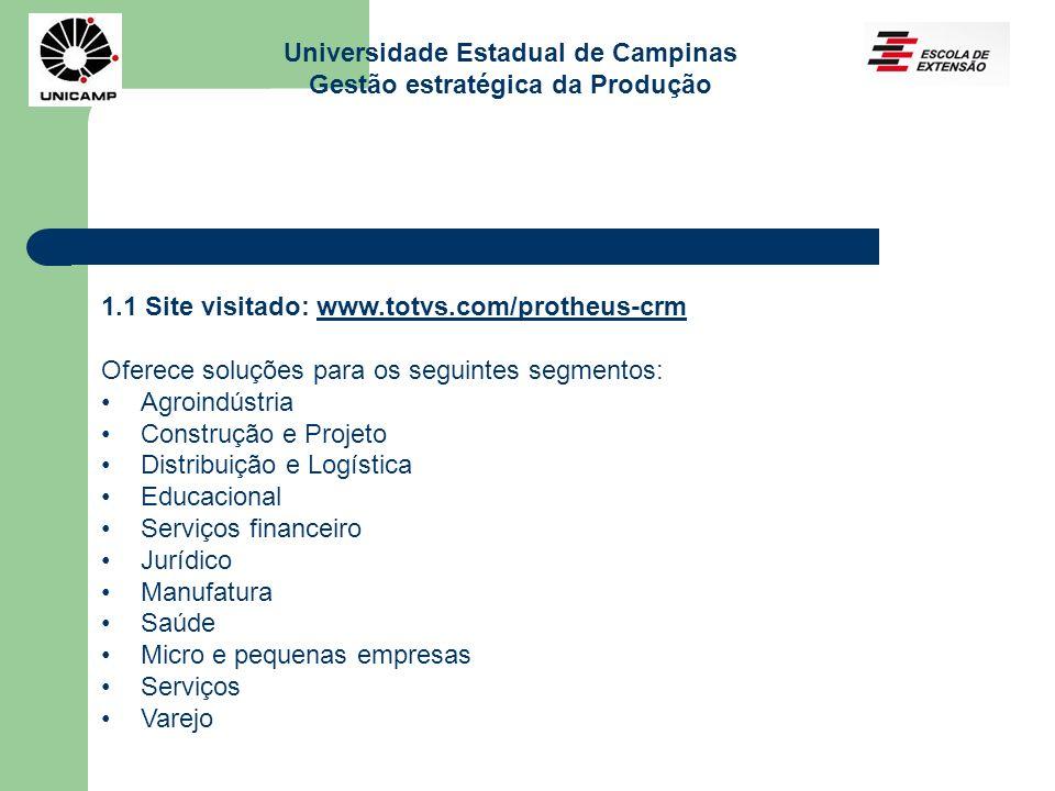Universidade Estadual de Campinas Gestão estratégica da Produção 1.1 Site visitado: www.totvs.com/protheus-crmwww.totvs.com/protheus-crm Oferece soluç