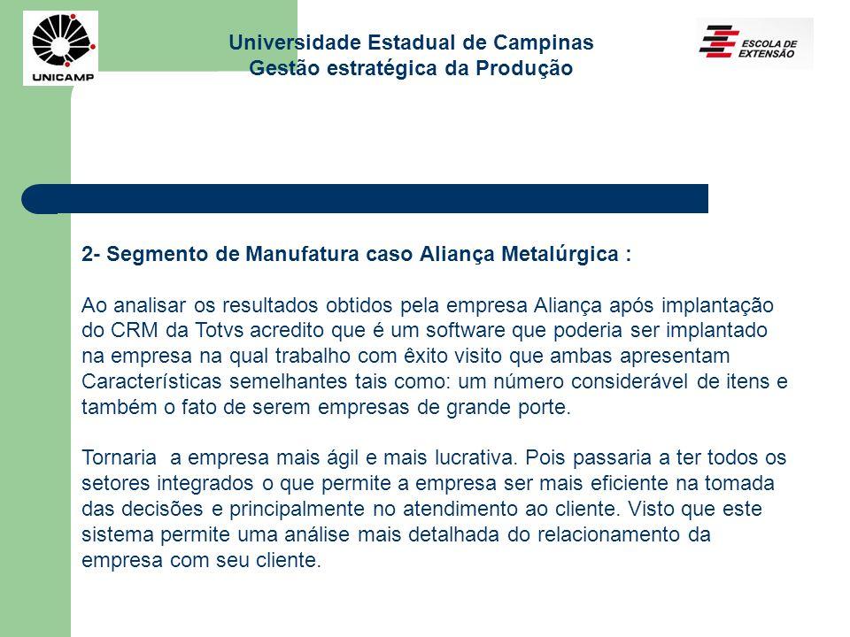 Universidade Estadual de Campinas Gestão estratégica da Produção 2- Segmento de Manufatura caso Aliança Metalúrgica : Ao analisar os resultados obtido