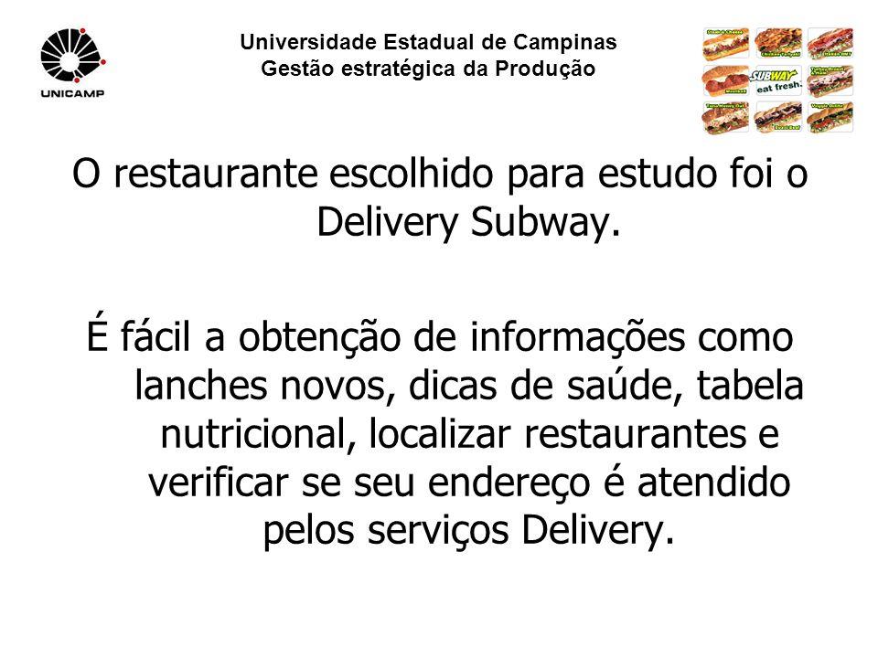Universidade Estadual de Campinas Gestão estratégica da Produção O restaurante escolhido para estudo foi o Delivery Subway.