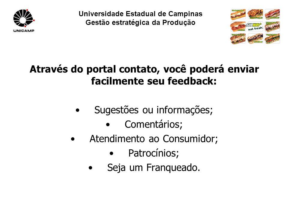 Universidade Estadual de Campinas Gestão estratégica da Produção Através do portal contato, você poderá enviar facilmente seu feedback: Sugestões ou informações; Comentários; Atendimento ao Consumidor; Patrocínios; Seja um Franqueado.