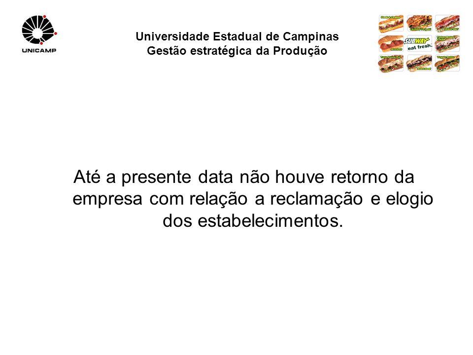 Universidade Estadual de Campinas Gestão estratégica da Produção Até a presente data não houve retorno da empresa com relação a reclamação e elogio dos estabelecimentos.