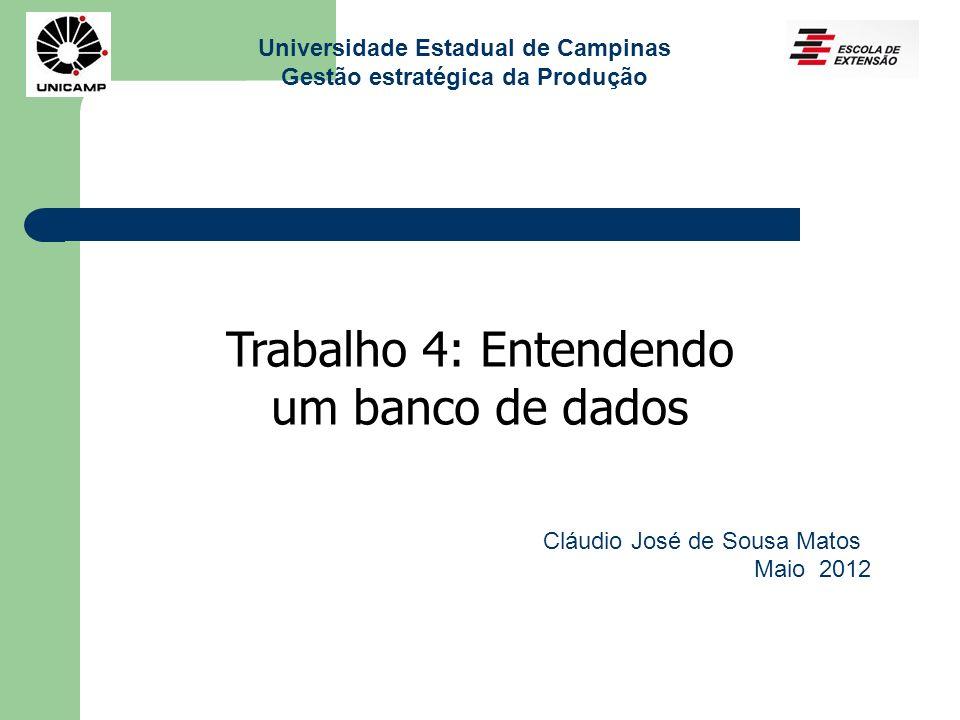 Universidade Estadual de Campinas Gestão estratégica da Produção Trabalho 4: Entendendo um banco de dados Cláudio José de Sousa Matos Maio 2012