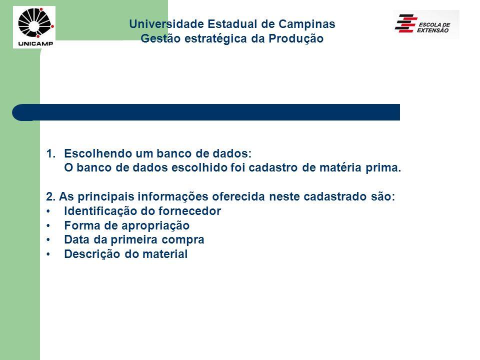 Universidade Estadual de Campinas Gestão estratégica da Produção 1.Escolhendo um banco de dados: O banco de dados escolhido foi cadastro de matéria prima.