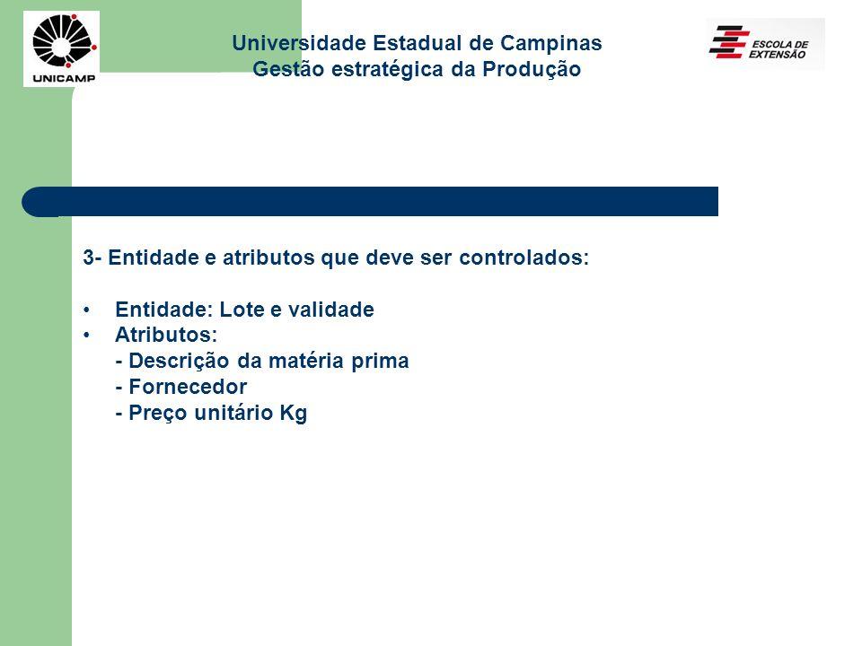 Universidade Estadual de Campinas Gestão estratégica da Produção 3- Entidade e atributos que deve ser controlados: Entidade: Lote e validade Atributos
