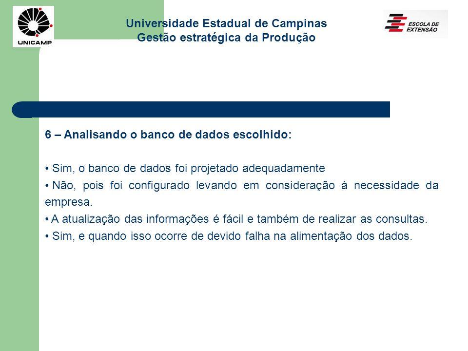 Universidade Estadual de Campinas Gestão estratégica da Produção 6 – Analisando o banco de dados escolhido: Sim, o banco de dados foi projetado adequadamente Não, pois foi configurado levando em consideração à necessidade da empresa.