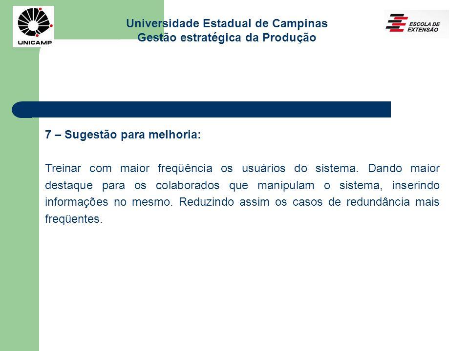 Universidade Estadual de Campinas Gestão estratégica da Produção 7 – Sugestão para melhoria: Treinar com maior freqüência os usuários do sistema. Dand