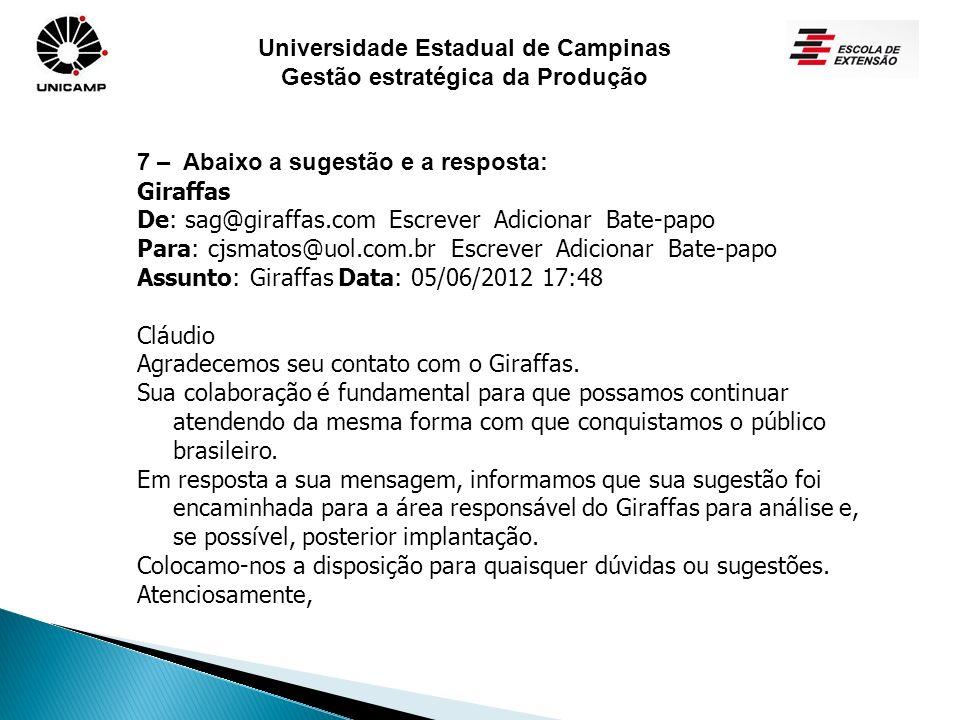 Universidade Estadual de Campinas Gestão estratégica da Produção 7- Continuação da resposta: SAG-Serviço de Atendimento Giraffas.