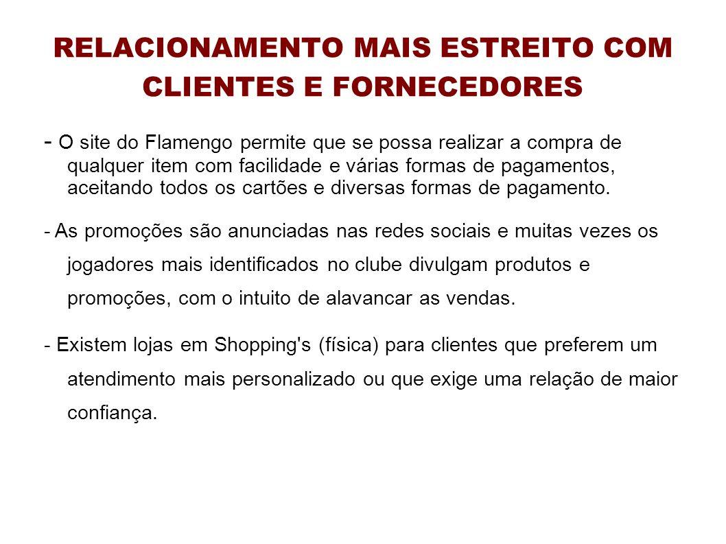 RELACIONAMENTO MAIS ESTREITO COM CLIENTES E FORNECEDORES - O site do Flamengo permite que se possa realizar a compra de qualquer item com facilidade e