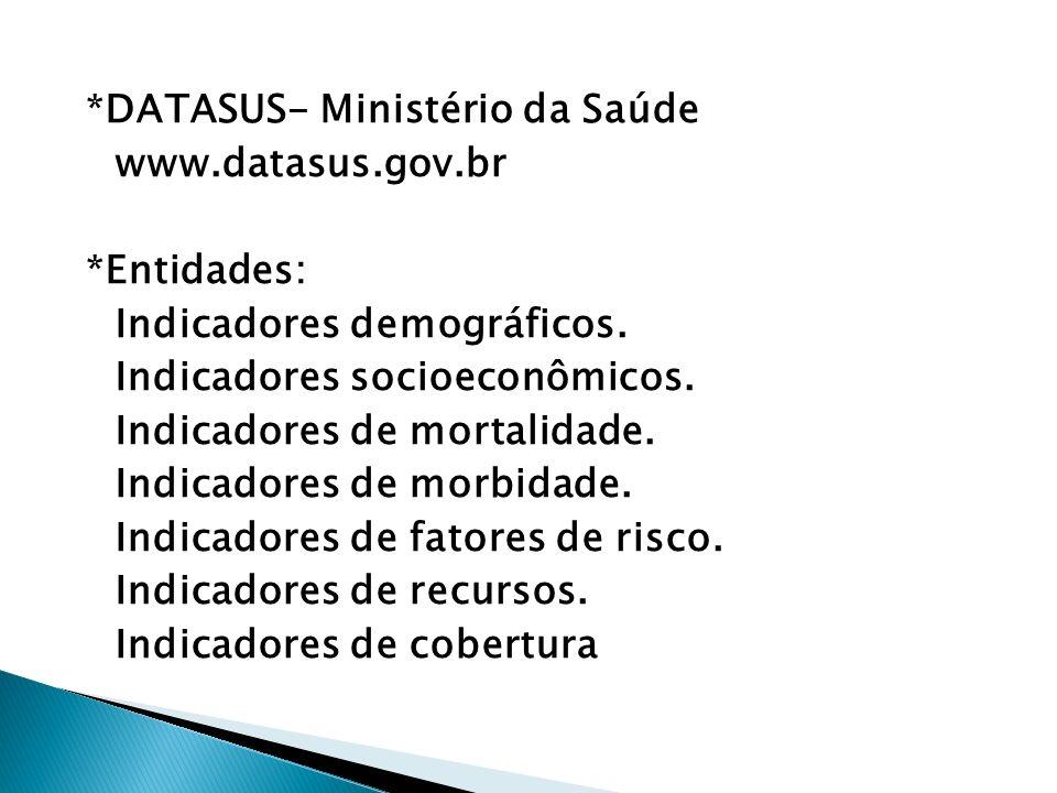 *DATASUS- Ministério da Saúde www.datasus.gov.br *Entidades: Indicadores demográficos.