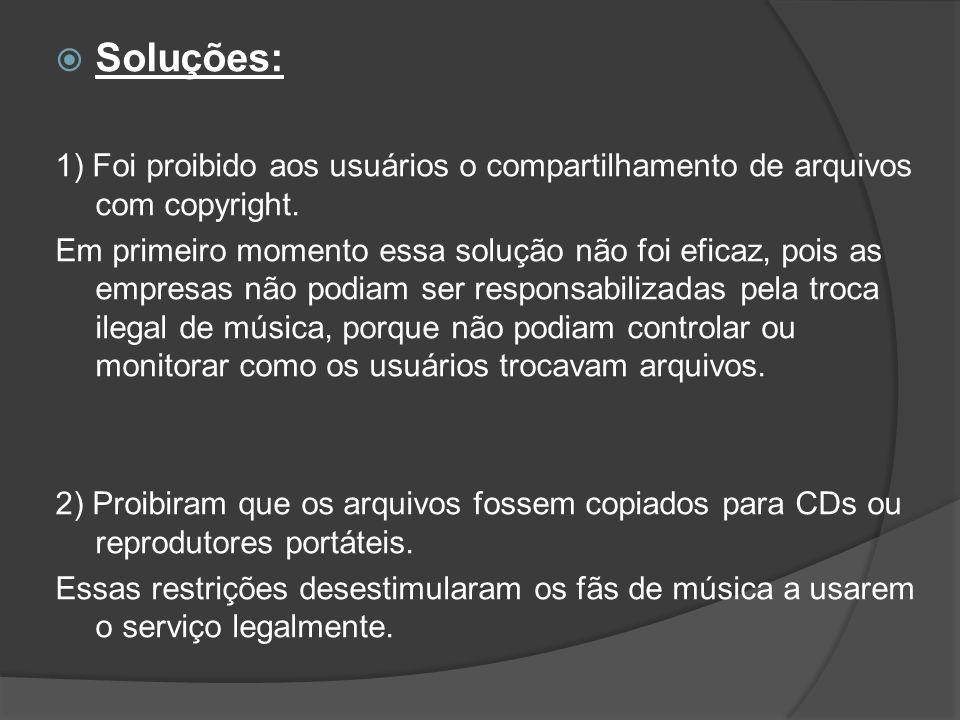 Soluções: 1) Foi proibido aos usuários o compartilhamento de arquivos com copyright.