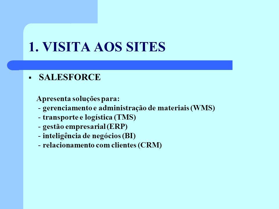 1. VISITA AOS SITES SALESFORCE Apresenta soluções para: - gerenciamento e administração de materiais (WMS) - transporte e logística (TMS) - gestão emp