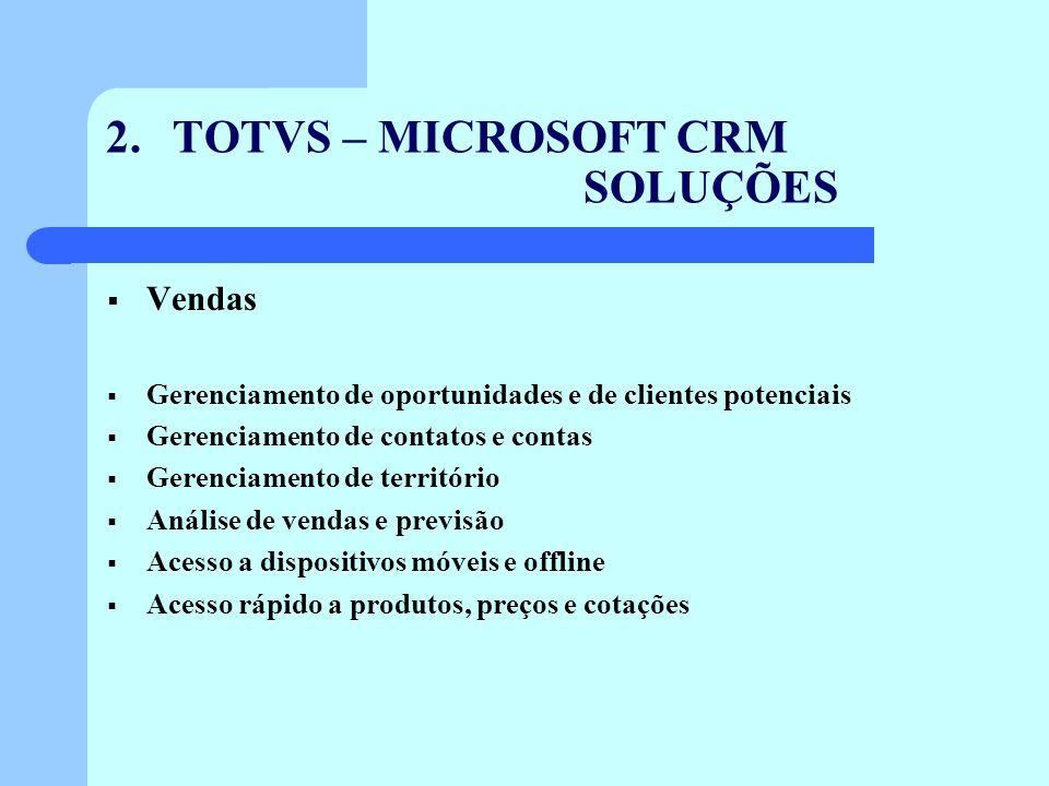 2. TOTVS – MICROSOFT CRM SOLUÇÕES Vendas Gerenciamento de oportunidades e de clientes potenciais Gerenciamento de contatos e contas Gerenciamento de t