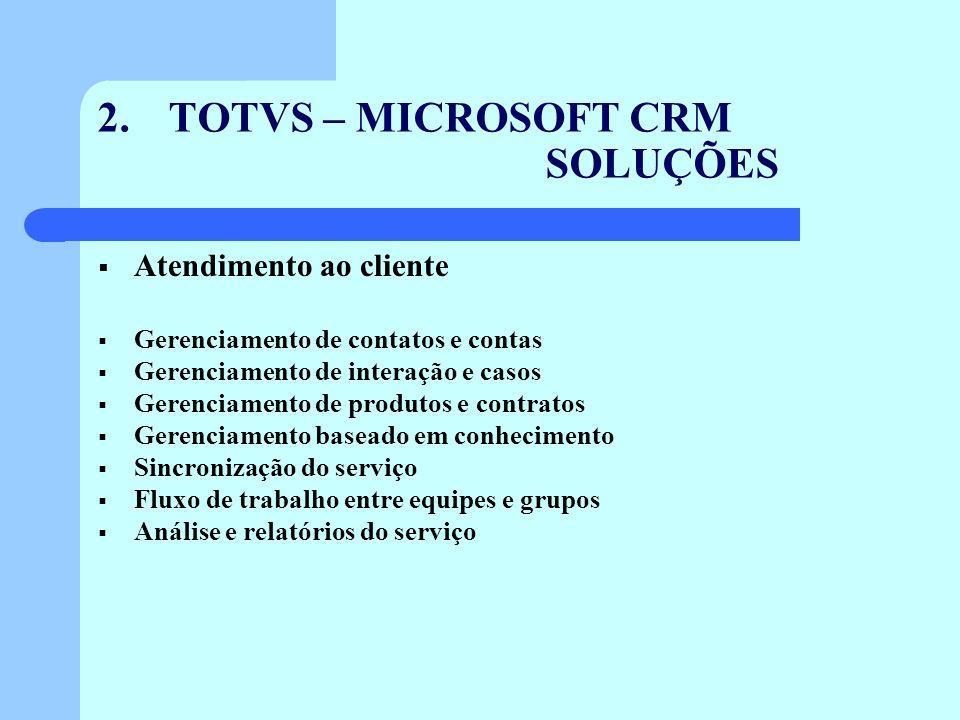 2. TOTVS – MICROSOFT CRM SOLUÇÕES Atendimento ao cliente Gerenciamento de contatos e contas Gerenciamento de interação e casos Gerenciamento de produt