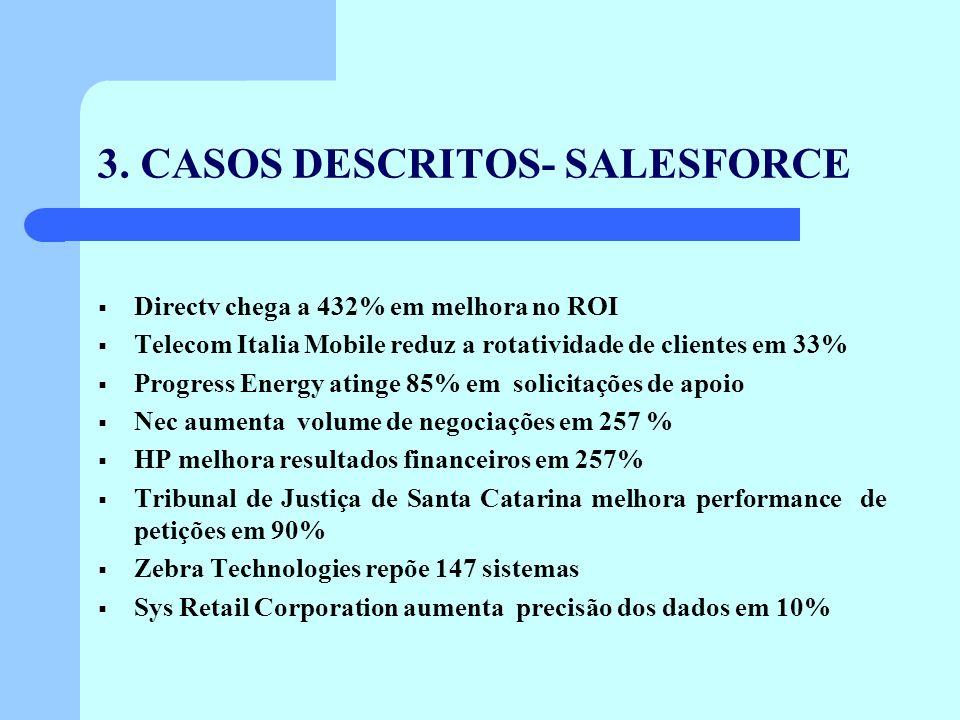 3. CASOS DESCRITOS- SALESFORCE Directv chega a 432% em melhora no ROI Telecom Italia Mobile reduz a rotatividade de clientes em 33% Progress Energy at