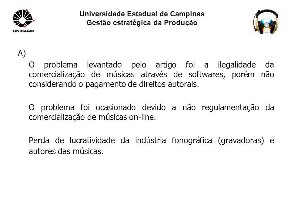 Universidade Estadual de Campinas Gestão estratégica da Produção A) O problema levantado pelo artigo foi a ilegalidade da comercialização de músicas através de softwares, porém não considerando o pagamento de direitos autorais.