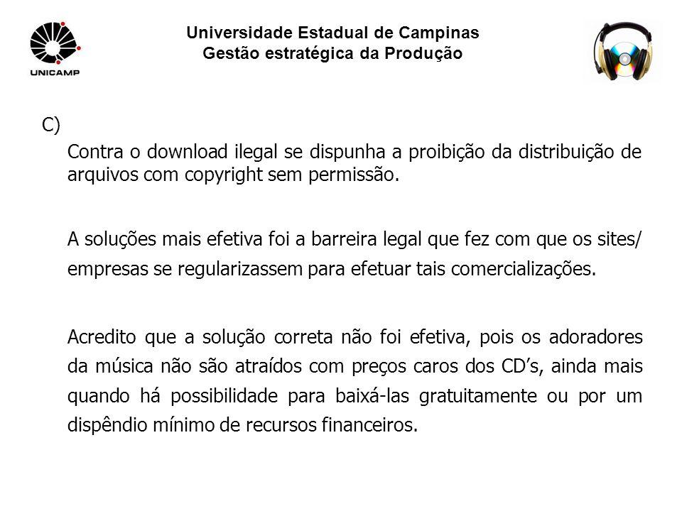 Universidade Estadual de Campinas Gestão estratégica da Produção D) Acredito que a solução correta ainda não foi tomada, pois com o mundo virtual tudo fica mais fácil de baixar na internet.
