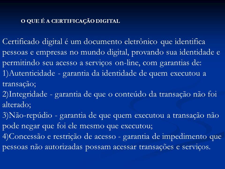 O QUE É A CERTIFICAÇÃO DIGITAL Certificado digital é um documento eletrônico que identifica pessoas e empresas no mundo digital, provando sua identidade e permitindo seu acesso a serviços on-line, com garantias de: 1)Autenticidade - garantia da identidade de quem executou a transação; 2)Integridade - garantia de que o conteúdo da transação não foi alterado; 3)Não-repúdio - garantia de que quem executou a transação não pode negar que foi ele mesmo que executou; 4)Concessão e restrição de acesso - garantia de impedimento que pessoas não autorizadas possam acessar transações e serviços.
