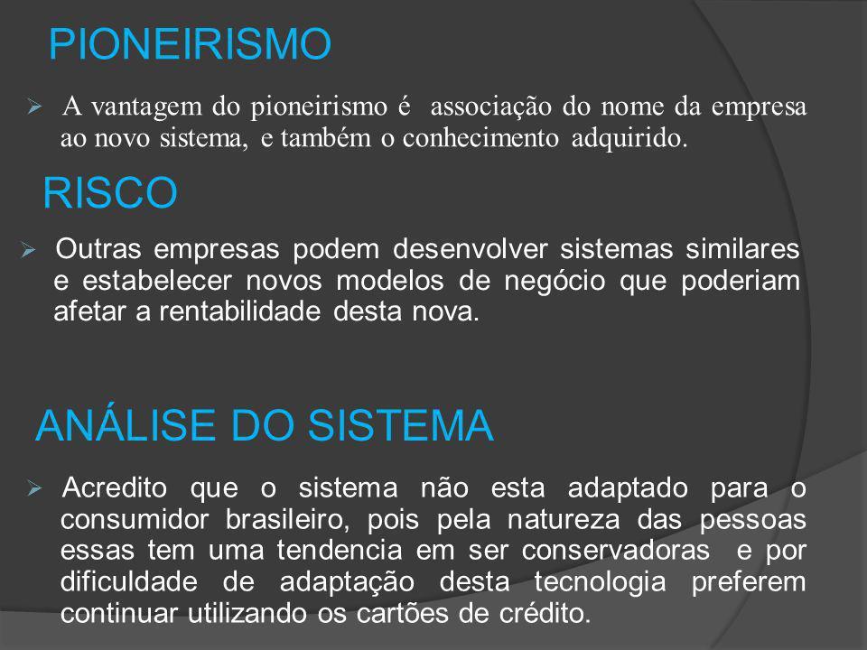 PIONEIRISMO A vantagem do pioneirismo é associação do nome da empresa ao novo sistema, e também o conhecimento adquirido.