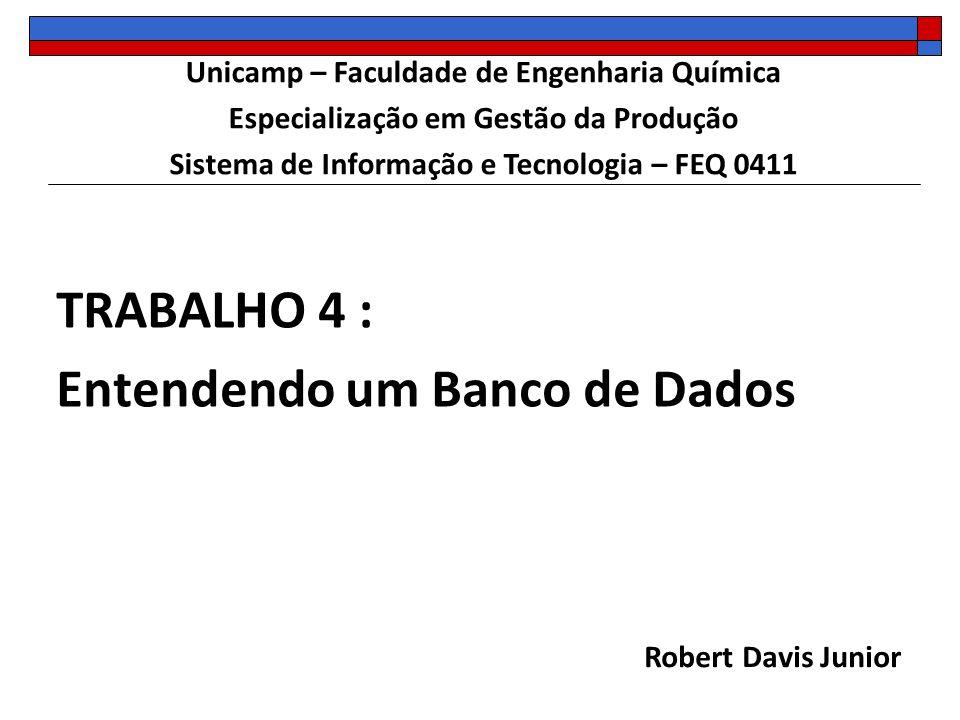 TRABALHO 4 : Entendendo um Banco de Dados Robert Davis Junior Unicamp – Faculdade de Engenharia Química Especialização em Gestão da Produção Sistema d